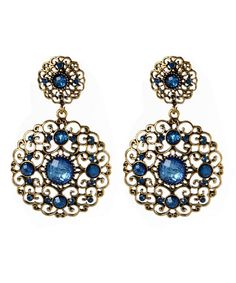 Take a look at this Blue Stone & Gold Napeague Spring Filigree Drop Earrings by Amrita Singh on #zulily today!