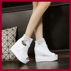 Damen Stiefel Winter Mary Jane PU Casual Keil Ferse Feder, Weiß, US8 / EU39 / UK6 / CN39 - Sportschuhe für frauen (*Partner-Link)