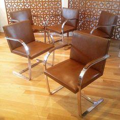 Mid Century Modern 1971 Knoll Brno Flat Bar Leather Chair