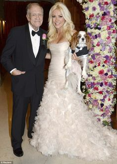 Hugh Hefner, and Crystal Harris tied the knot on New Year's Eve at the playboy mansion. Just one month after becoming Mrs. Hugh Hefner, Crystal is auctioning off her wedding attire, Pale Pink Weddings, Pink Wedding Gowns, Wedding Pics, Wedding Couples, Wedding Ideas, Royal Weddings, Wedding Attire, Wedding Flowers, Celebrity Wedding Photos