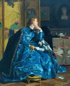 """""""The Duchess (formerly known as The Blue Dress), Alfred Stevens (Belgian, Sterling and Francine Clark Art Institute, Williamstown, MA. The Duchess is a tour-de-force of. Alfred Stevens, Manet, People Reading, Anthony Van Dyck, Clark Art, Marine Uniform, 24. August, Social Art, Beauty"""