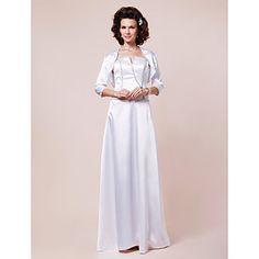 Sheath/ Column Floor-length Elastic Woven Satin Mother of the Bride Dress With A Wrap