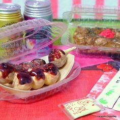 Re-ment / Rement : Japanese Dollhouse Toys : Japanese Seasonal Food #12 / Secret Set - Miniature Takoyaki / Yakisoba Noodles / Beer Can