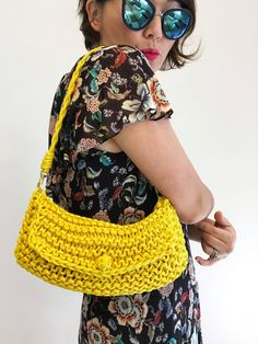 Yellow Knit Bag Chunky Knit Bag Modern Knit by knitknotsupplyco