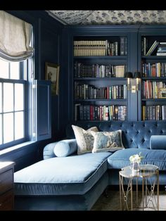 Beautiful blue library....oh in heaven