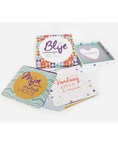 Doosje met 30 kaarten om de mijlpalen van jou en je kleintje vast te leggen. #Prenatal #Blije #Momentjes #Kaarten