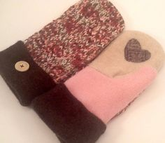 Wool Sweater Mittens  Warm Fleece Lined Upcycled by TreasuredHeart