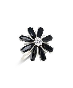 f3977d9d6 Regal Jewelry Gems Black Cubic Zirconia & Sterling Silver Flower Ring