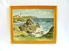 Vintage Seascape Paint by Number Mid Century by HipCatRetroVintage Vintage Beach Party, Vintage Shops, Retro Vintage, Lighthouse Painting, Paint By Number Kits, Seascape Paintings, Love Painting, Beach Themes, Mid Century