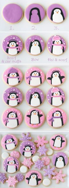 In preparation for my recent Pink and Purple Penguin Party, I spent a day making some cute penguin cookies. I wanted them to be simple, playful and girly, and I love how they came together! Once I had the base design I had lots of fun adding hats, scarfs and ear muffs to give each penguin a little personality. This general design could be done in any number of color schemes to create cookies for boys or girls. Swapping the purple or pink background for light blue, then adding details in red…