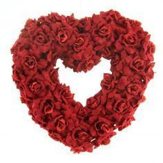 """8"""" VELVET ROSE HANGING HEART"""