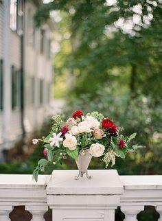Rose, dahlia and greenery wedding flowers: http://www.stylemepretty.com/2016/11/14/formal-southern-elegance-blush-velvet-and-claret-inspiration/ Photography: Studio Elle - http://studioellephoto.com/