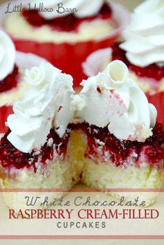 White Chocolate Cream-Filled Raspberry Cupcakes