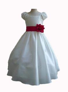 Classykidzshop Ivory Taffetta Wedding Flower Girl Dress with Colorful Sash - Red Sash 2T Classykidzshop,http://www.amazon.com/dp/B008A1HHDY/ref=cm_sw_r_pi_dp_Gzddsb0T88C263BJ