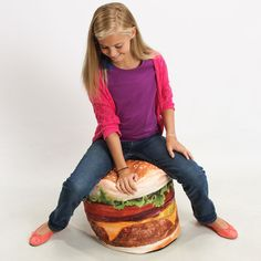 Hamburger Inflatable Chair - for Maddy! Inflatable Furniture, Inflatable Chair, Useless Inventions, Wow Words, Nerd Chic, Burgers And More, Niece And Nephew, Kids Corner, Hamburger