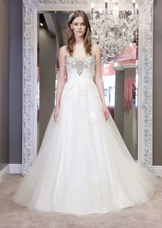 Harper 8450  Soft tulle a-line of lace bodice with glamorous high contrast intricate embellishment at neckline and ribbon straps - See more at: http://www.winniecouture.com/wedding/detail/blush-label/1/676#sthash.TgOrdV87.dpuf
