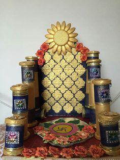 Mandir Decoration, Ganpati Decoration At Home, Ganapati Decoration, Diwali Decorations, Stage Decorations, Festival Decorations, Flower Decorations, Ganesh Chaturthi Decoration, Janmashtami Decoration