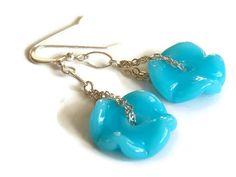 Sky Blue Ruffle Earrings -SOLD-