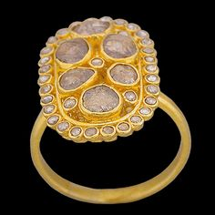 18K Yellow Gold Oval Ring with bezel set Rose Cut Diamonds(1.22cttw). Width 22mm.