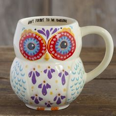 "Folk Owl Mugs ""Don't forget to be awesome"" Text Pinned by www.myowlbarn.com"