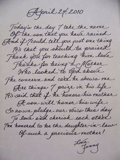 Love This Idea Of Writing A Heart Felt Letter To The Mother Groom On Your Wedding Day When Her Son Becomes Husband Thank For Raising Him