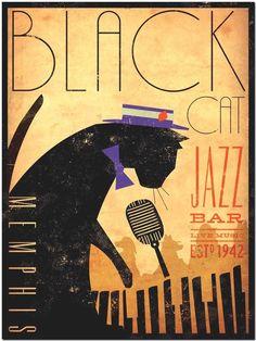 """Vintage Black Cat Jazz Bar Poster - Canvas Art Print 10x8"""""""