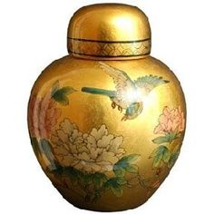This delicately crafted porcelain vase demonstrates a simple elegance in form, and features a gold leaf birds and flowers design. Handmade by a family of artisan in the Guangdong province of China, th