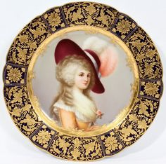 """ROYAL VIENNA PORCELAIN PORTRAIT PLATE OF THE """"DUCHESS OF DEVONSHIRE""""'' SIGNED WAGNER"""