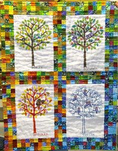 Four seasons.  Quilt and embroidery