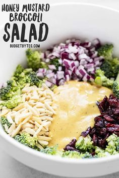 chicken side dishes This crunchy, sweet, tangy, and creamy Honey Mustard Broccoli Salad only takes minutes to makes the perfect summer side dish. Side Dishes For Chicken, Summer Side Dishes, Side Dishes Easy, Honey Mustard Dressing, Honey Mustard Sauce, Vegetarian Recipes, Healthy Recipes, Vegetarian Broccoli Salad, Vegetable Salad