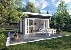 Bilderesultat for hagestue Backyard Cabana, Backyard Studio, Shed Office, Alfresco Area, Shed Colours, Modern Tiny House, She Sheds, Lounge, Garden Pool
