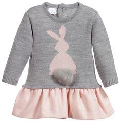 Baby Girls Cotton Dress with Bunny & Fur Trim, Paloma De La O, Girl
