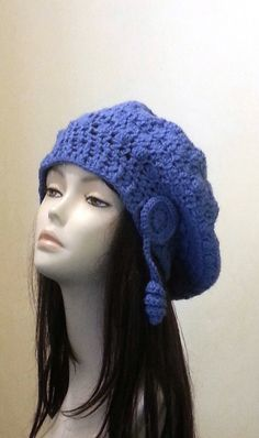 Crocheted Beret Hat Slouch Hat Crochet Blue ♡ by jazzicrafts at www.etsy.com/uk/shop/jazzicrafts