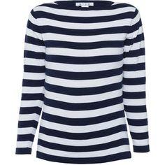 Blue Navy Striped Cotton Knit Sweater