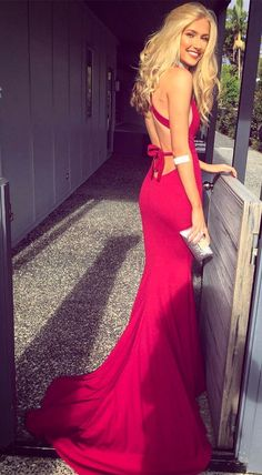 mermaid red long prom dress evening dress, 2018 gorgeous prom dress, party dress, formal evening dress