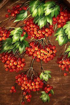 """Купить Деревянный поднос """"Калина красная"""" (большой) - коричневый, поднос, кухонный интерьер, кухня"""