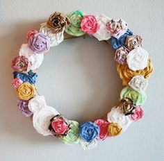 rose wreath, paper roses, fabric roses, craft, recycled clothing, fabric flowers, spring wreaths, make flowers, fabric scraps