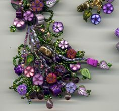 Lavender Country Garden Flower Necklace Set. $75.00, via Etsy.