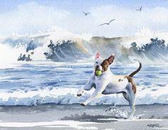 PIT BULL Terrier à la plage signé Art Print par k9artgallery