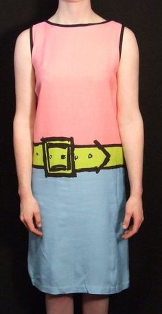 Rare Find Vintage Trompe L'Oeil Vintage MOD 60s Shift Dress. Vibrant Color, Iconic Style