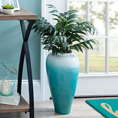 Aqua and White Bamboo Vase | Kirklands