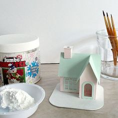 How to: decorate a putz house with snow / AllThingsPaper.net