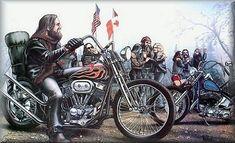 Old School Biker Art | dave mann the chopper riders artist