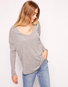 ASOS+Top+with+V+Neck+and+Curved+Hem+in+Rib