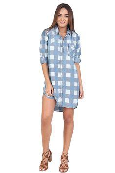 Blue Checkered Shirt Dress at Blush Boutique Miami - ShopBlush.com : Blush Boutique Miami – ShopBlush.com