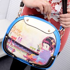 Fashion Zipper Design and Little Girl Pint Blue PU Totes Bag