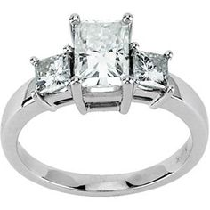 14K White Gold Created Moissanite Three Stone Band Ring - (Sizes 5 to 9) $1,106.00 (71% OFF)