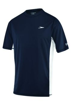 Speedo Men's Rashguard Longview Short Sleeve Swim Tee Style # 7482202 430 NEW NAVY. Block the Burn with UPF 50+ protective fabric. Short sleeve loose fit swim tee. Contrast splicing. Speedo boom on left chest. You don't make the world's greatest swimwear by settling. Using 85 years of in-water experience. Speedo continually pushes design features to new levels of performance and style.