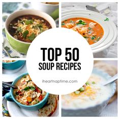 Top 50 Soup Recipes by Crystal of Cooking with Crystal for I Heart Naptime With Winter fully upon us, I figured I would compile a round up of the Top 50 Soup Recipes to stay warm in these freezing temps! I don't know about you, but when the snow falls I just find myself constantly …