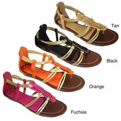 @Overstock - These adorable sandals feature a vibrant color and fun detailing on the upper. These sandals are complete with gold straps and details.http://www.overstock.com/Clothing-Shoes/Carrini-Womens-Sliver-Wedge-Sandals/7179696/product.html?CID=214117 $25.49